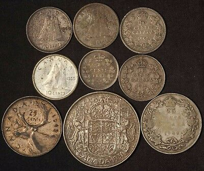 Canada Silver Lot 50c, 25c(2), 10c(5) and 5c - 9 Coins - Free Shipping in USA