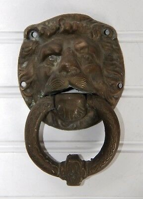 Antique/Vintage Lion Head Bronze Brass Door Knocker Large Celtic Architectural