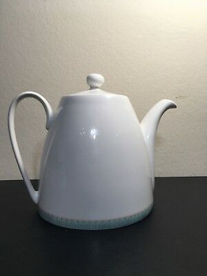 Denby Jewel Collection White Glazed China Tea Pot with Green Blue Edging