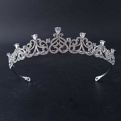 Elegant Cubic Zircon Silver Plated Tiara Style T-033
