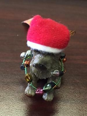 Dog With Santa Hat And Lights Ornament(Schnauzer)