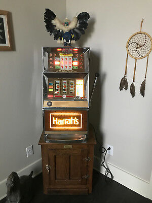 Vintage Bally's Three Wheel  25 cent Coin Casino Slot  Machine Fom Harrah's