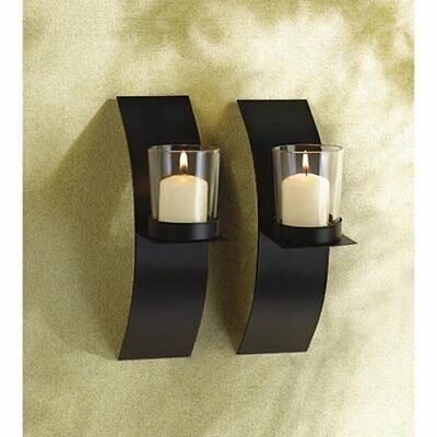 Home Decor Pair of Modern Wrought Iron Hanging Wall Arts Candle-holder Sconce