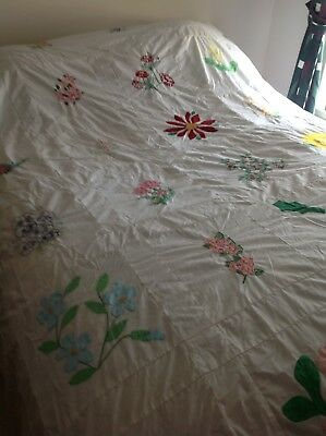 """Vintage Hand Embroidered Quilt Top Unfinished 84""""x100"""""""