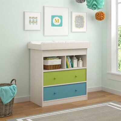 Baby Dresser Changing Table Drawer Nursery Furniture 2 Drawers Shelf Changer New