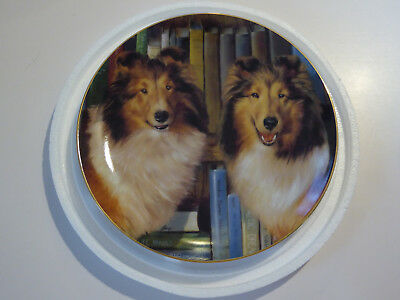Danbury Mint Shetland Sheepdogs/Sheltie Plate BOOKENDS by Edward Aldrich
