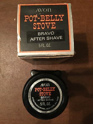 1970's Collectible Avon Pot-Belly Stove Bravo After Shave 5 oz VINTAGE