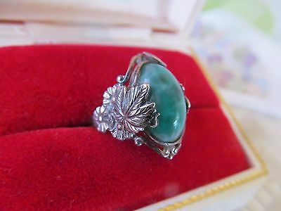 Gorgeous Detailed Antique Vintage Sterling Silver Peking Glass Ring Sz 5.5
