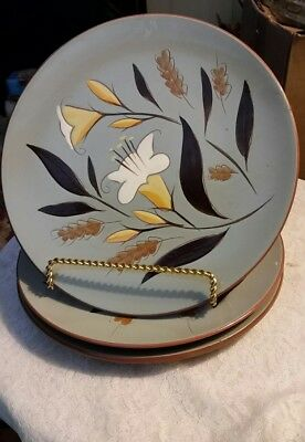 """3 PCS STANGL GOLDEN HARVEST 10 1/8"""" DINNER PLATE POTTERY 1950s USA  HAND PAINTED"""