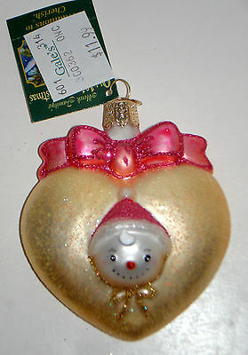Girl BABY'S FIRST Blown Glass Old World Christmas Ornament New w Tags NOT Dated