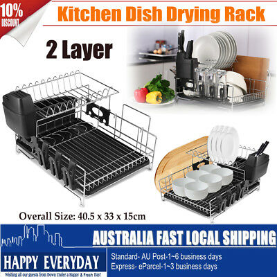 2 Layers Dish Drying Rack Drainer Cup Cutlery Tray Utensil Dryer Organizer Stand