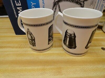 Set Of 2 Cups With 6 Thimble Designs Around The Cups, 3 On Each Cup