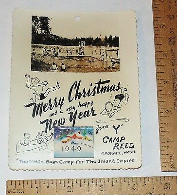 "1949 ""Y"" CAMP REED - Spokane, Wash. - YMCA BOYS CAMP  - small PHOTO - CALENDAR"
