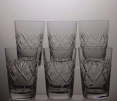 Vintage Beautiful Design Cut Glass Whiskey Whisky Flat Tumblers Glasses Set Of 6