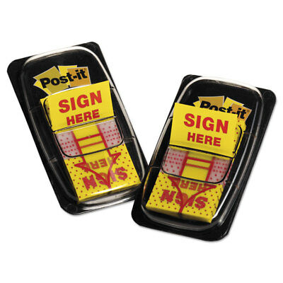 """Post-it Arrow Message 1"""" Page Flags """"Sign Here"""" Yellow 2 50-Flag Dispensers/Pack"""