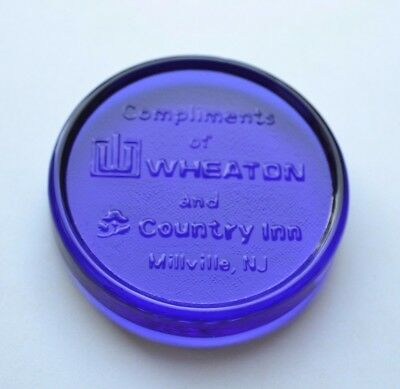 COBALT GLASS PROMO AD PAPERWEIGHT Compliments Wheaton & Country Inn Millville NJ