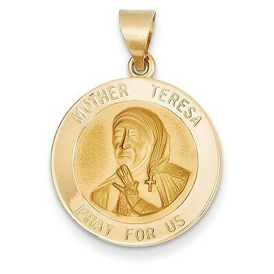 14k Yellow Gold Polished And Satin Mother Teresa Religious Medal Pendant Charm