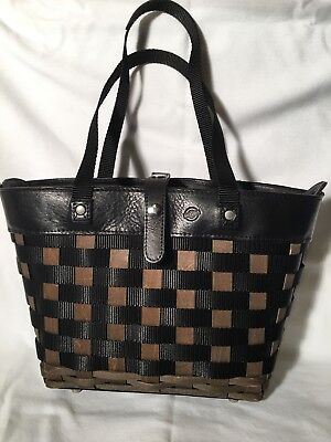 Longaberger To Go Leather and Wood Woven Tote Handbag