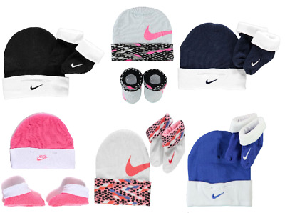 c6728f00f2d5e Nike Cotton Baby Booties + Beanie Hat Set 0-6 Months Newborn Gift Boy Girl