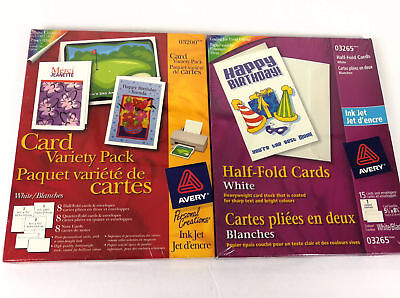 Avery Card Variety Pak 03200 Half Fold Cards 03265 Blank Card Stock Sealed Lot 2
