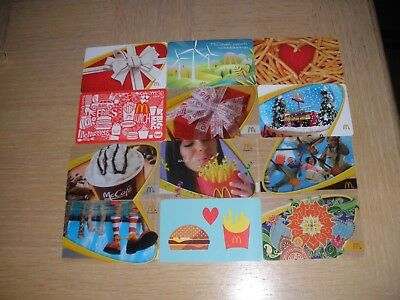 McDonald's  12 different new collectible gift cards