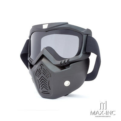 Open Face Helmet Bikers Full Face Mask / Goggles Smoked Lens - Harley Chopper