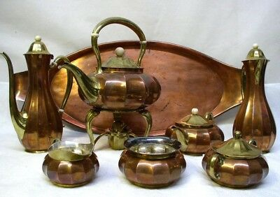 VINTAGE TIFFANY & Co ARTS & CRAFTS ERA COPPER BRASS BRONZE TEA COFFEE SET w/TRAY