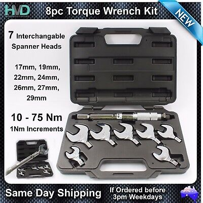8pc Interchangeable Spanner Head Torque Wrench 17.19.22.24.26.27.29mm  10-75Nm