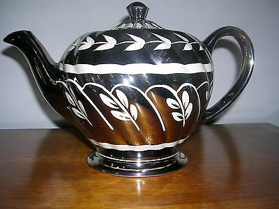 Antique Sadler Teapot With Silver Overlay Made In England #1601