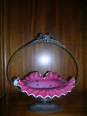 Antique Victorian Brides Basket Opalescent Overlay Hand Painted Silver Holder