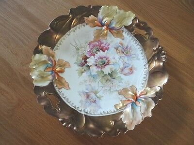 Antique RS Germany Cake Plate Flowers Copper Luster Porcelain 1900-1904