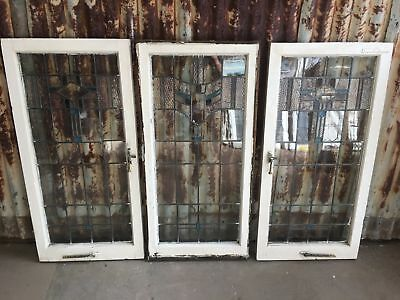 Old Leadlight Window Panels In Timber Frame 530w X 1085h Price Is Per Panel