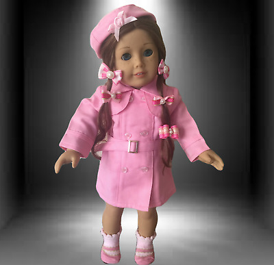 """AMERICAN GIRL DOLL CLOTHES fit 18"""" AG doll TRENCH COAT HAT, SOCKS & 5 HAIRBOWS"""