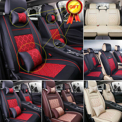 5-Seats Car Seat Covers Front+Rear PU Leather Mess Cushion All Seasons W