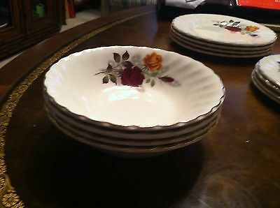 Myott Ironstone- Red & Yellow Rose Pattern Soup Bowls England Set 4  Euc!!