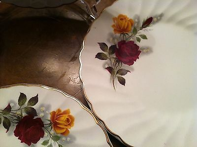 Myott Ironstone- Red & Yellow Rose Pattern Bread Plates England Set 4  Euc!!