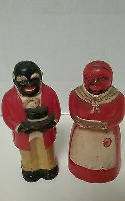 Vintage F&F Mold Black Americana Mammy & Uncle Moses Salt Pepper Shakers USA 3.5