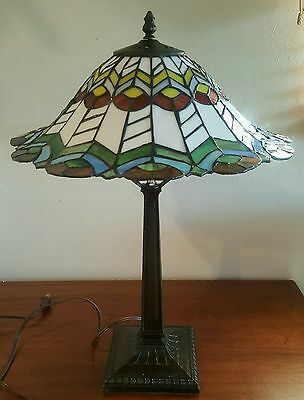 Tiffany Style Stained Glass Table Lamp Red, Green, Yellow, Blue, Brown And White