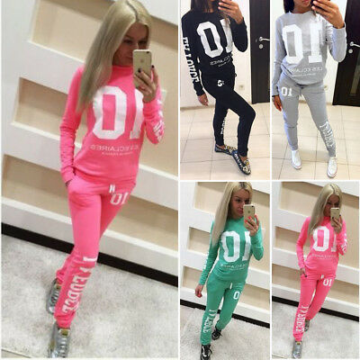 Womens Tracksuit 2Pcs Sweatshirt Top Pants Jogging Sports Wear Casual Gym Suit