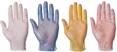 Disposable Latex, Nitrile or Vinyl Gloves - Powdered or Powder Free, Clear /Blue