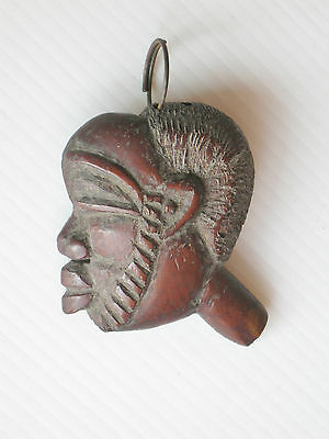 "Old Hand Carved Wood Face Key Ring, 2 3/8"" High, 36 Grams Found Thailand Asia"