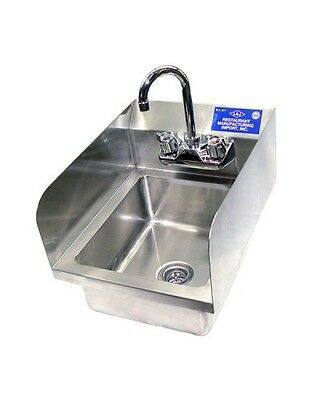 "Heavy Duty Stainless Steel Wall Mouth Hand Sink 12""x12"" With Side Splash - NSF"