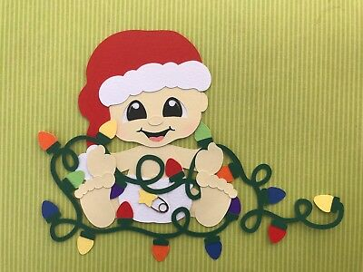 Baby with Christmas lights paper piecing