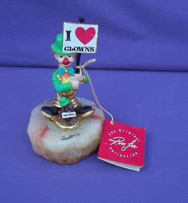 Exquisite Signed Ron Lee Hand Painted I Heart Clowns Figurine 1992