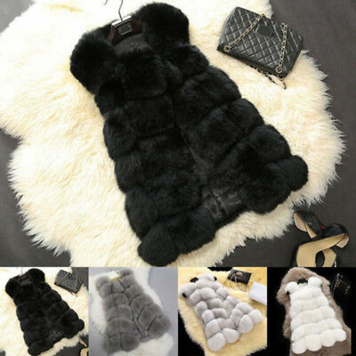 Women's Faux Fox Fur Waistcoat Warm Gilet Long Slim Vest Jacket Coat Outwear HOT