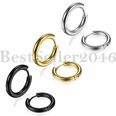 3 Pairs Mens Womens Stainless Steel Tube Hoop Huggie Ear Stud Earrings Jewelry