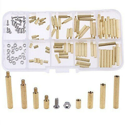 120Pcs Brass M2 Male Female Spacers Standoff PCB Circuit Board Screw Nut Kit Box