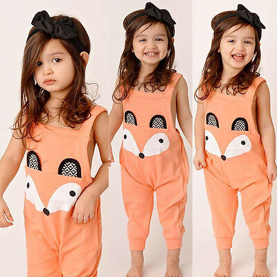 New Baby Kids Girl Jumpsuit Romper Playsuit Cartoon Fox Clothes Outfits UK Stock