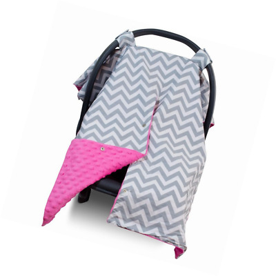 Premium Carseat Canopy Cover / Nursing Cover- Large Chevron Pattern w/ Hot Pink