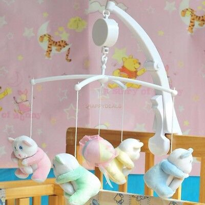 Rotary Baby Crib Mobile Bed Bell Toy Holder Arm Bracket Wind-up Music Box White